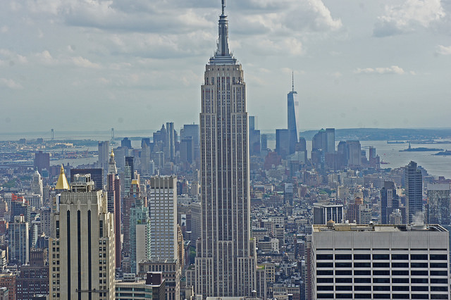 Empire State Building view from chopper